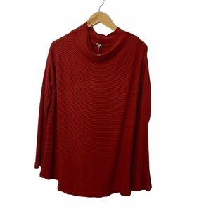 We the Free Ribbed Rust colored oversized top